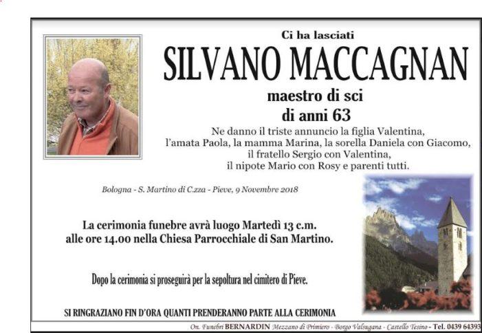 Addio a Silvano Maccagnan, funerali martedì 13 novembre alle 14 a San Martino di Castrozza