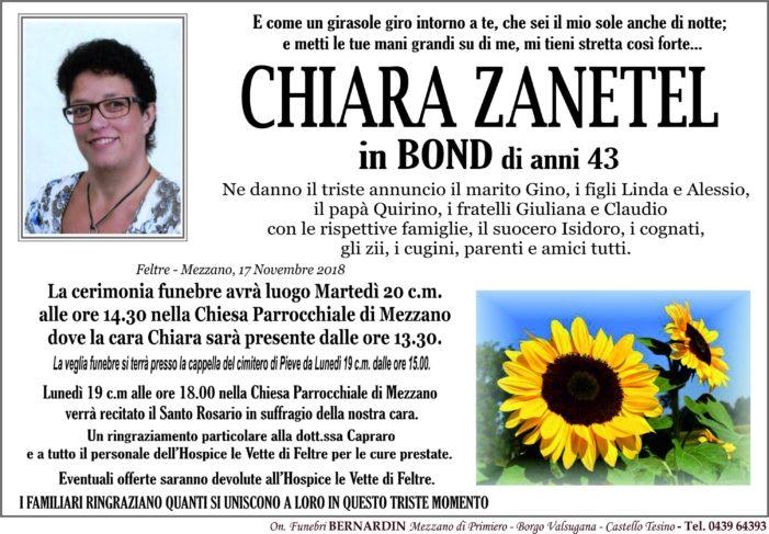 Addio a Chiara Zanetel in Bond, l'intera comunità si stringe al grande dolore della famiglia