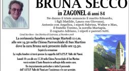 Addio a Bruna Secco in Zagonel, funerali martedì 11 dicembre alle 14.30 a San Martino di Castrozza