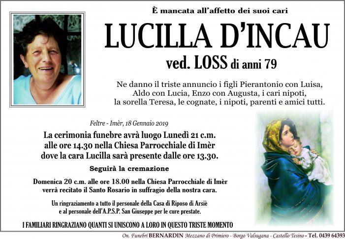Addio a Lucilla D'Incau vedova Loss, funerali lunedì 21 gennaio alle 14.30 nella chiesa di Imèr
