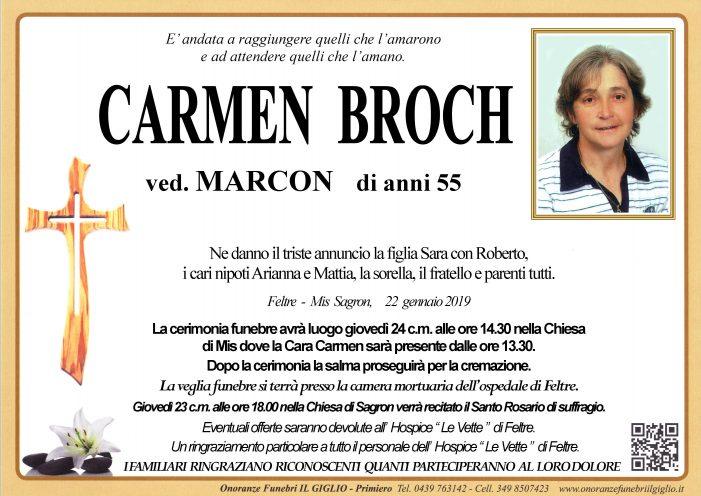 Addio a Carmen Broch vedova Marcon, funerali giovedì 24 gennaio alle 14.30 nella chiesa di Mis