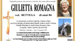 Addio a Giulietta Romagna vedova Bettega: funerali a Melbourne (Australia), rosario di suffragio venerdì 25 gennaio alle 17.30 a Imèr