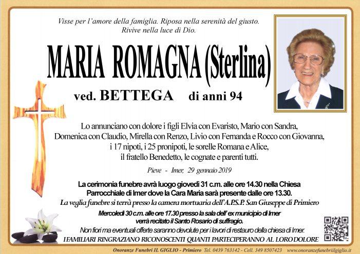 Addio a Maria Romagna (Sterlina) vedova Bettega, funerali nella chiesa di Imèr giovedì 31 gennaio alle 14.30