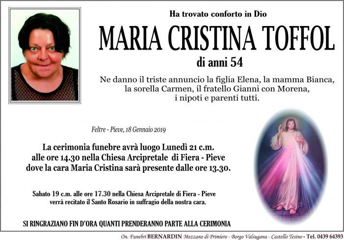 Addio a Maria Cristina Toffol, l'ultimo saluto lunedì 21 gennaio alle 14.30 nella chiesa Arcipretale di Fiera – Pieve