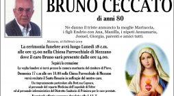 Addio a Bruno Ceccato, funerali lunedì 18 febbraio alle 15 nella chiesa di Mezzano