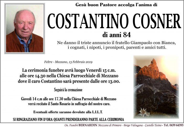 Addio a Costantino Cosner, funerali nella chiesa di Mezzano venerdì 15 febbraio alle 14.30