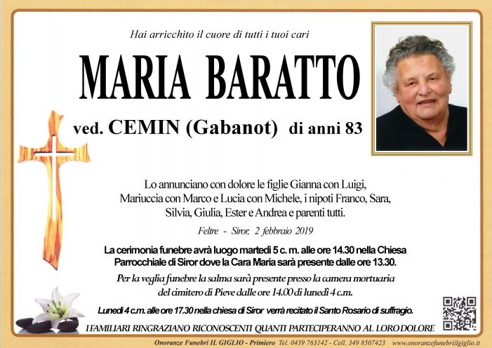 Addio a Maria Baratto vedova Cemin, funerali a Siror martedì 5 febbraio alle 14.30