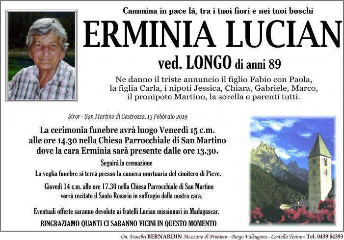 Addio a Erminia Lucian vedova Longo, funerali venerdì 15 febbraio alle 14.30 nella chiesa di San Martino di Castrozza