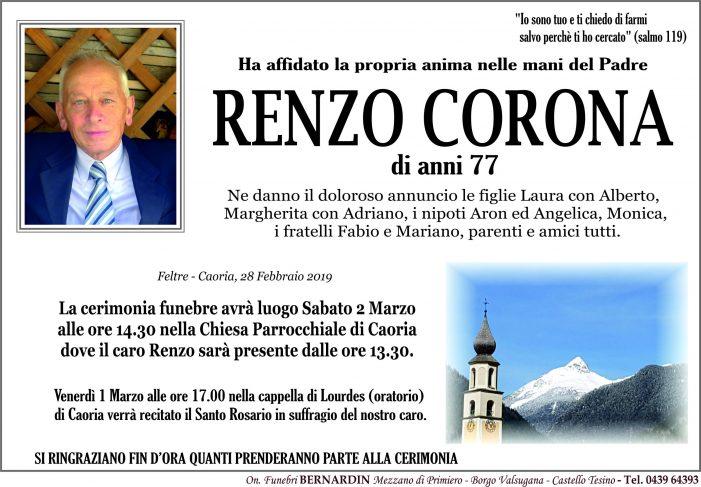 Addio a Renzo Corona, funerali  a Caoria sabato 2 marzo alle 14.30