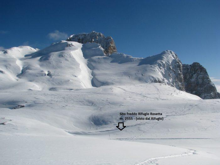 Dolomiti, Pale di San Martino: raggiunti i -41,1°c sotto il rifugio Rosetta