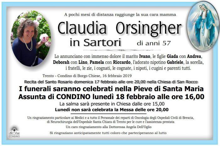 Addio a Claudia Orsingher in Sartori, funerali nella Pieve di Santa Maria a Condino, lunedì 18 febbraio alle 16