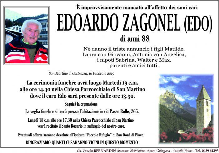 Addio a Edoardo Zagonel (Edo), funerali martedì 19 febbraio alle 14.30 nella chiesa di San Martino di Castrozza