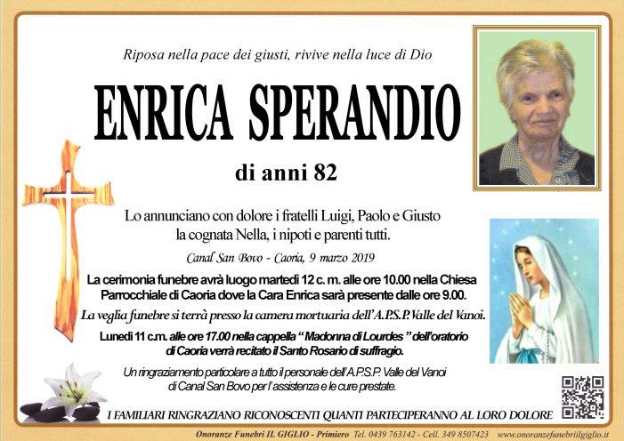 Addio ad Enrica Sperandio, funerali martedì 12 marzo alle 10 nella chiesa di Caoria