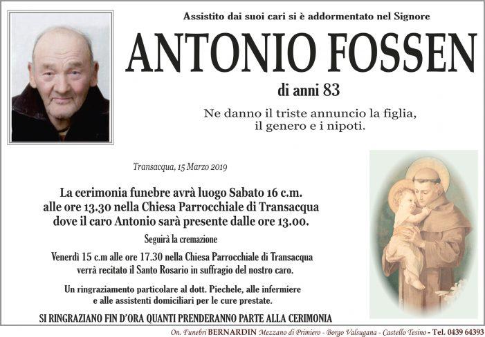 Addio ad Antonio Fossen, funerali sabato 16 marzo alle 13.30 nella chiesa di Transacqua