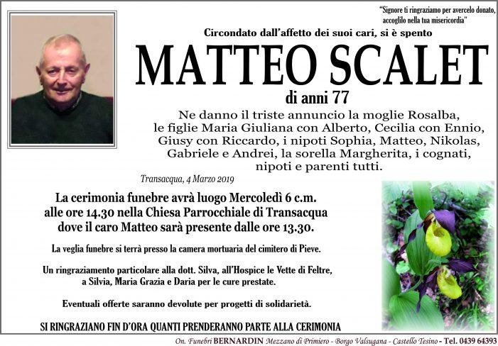 Addio a Matteo Scalet, funerali a Transacqua mercoledì 6 marzo alle 14.30