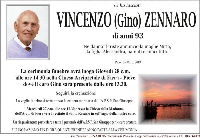 Addio a Vincenzo (Gino) Zennaro, funerali giovedì 28 marzo alle 14.30 nella chiesa Arcipretale di Fiera – Pieve