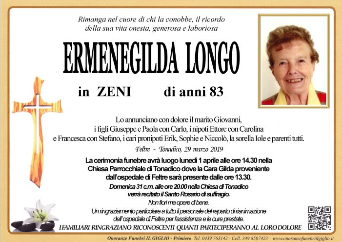 Addio Ermenegilda Longo in Zeni, funerali lunedì 1 aprile alle 14.30 a Tonadico