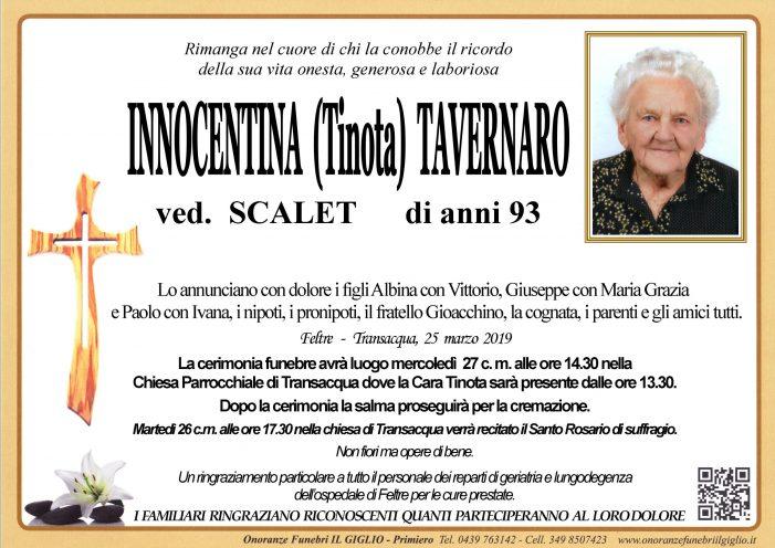 Addio ad Innocentina (Tinota) Tavernaro, funerali mercoledì 27 marzo alle 14.30 a Transacqua