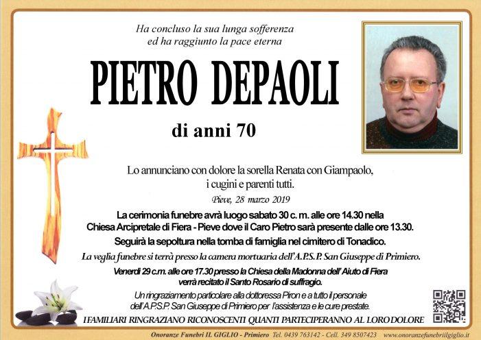 Addio a Pietro Depaoli, funerali sabato 30 marzo alle 14.30 nella chiesa di Fiera – Pieve