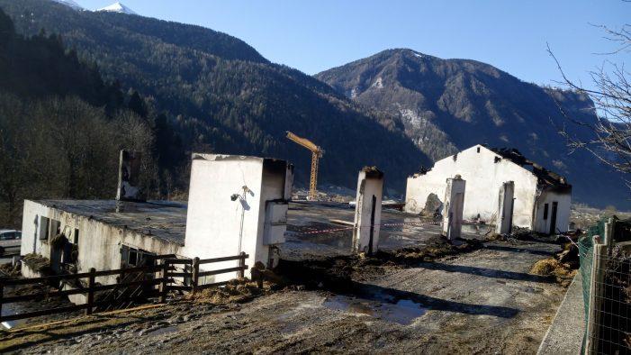 Incendio Mezzano, ecco che cosa resta della stalla dopo il furioso rogo: accertamenti in corso sull'origine delle fiamme