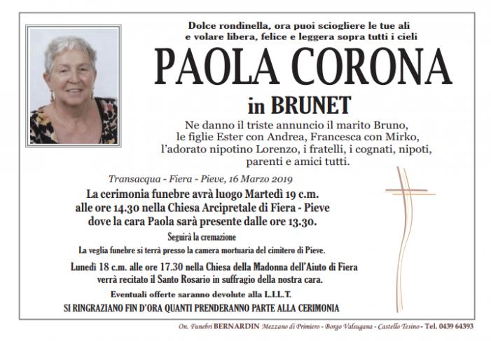 Addio a Paola Corona in Brunet, funerali martedì 19 marzo alle 14.30 nella Chiesa Arcipretale di Fiera – Pieve