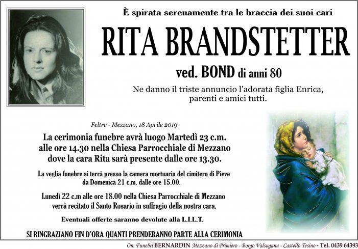 Addio a Rita Brandstetter vedova Bond, funerali martedì 23 aprile alle 14.30 nella chiesa di Mezzano