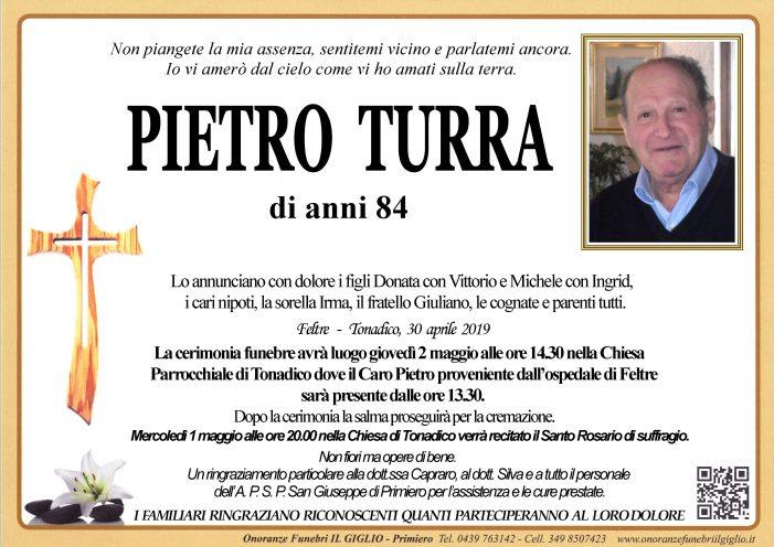 Addio a Pietro Turra, funerali giovedì 2 maggio alle 14.30 nella chiesa di Tonadico