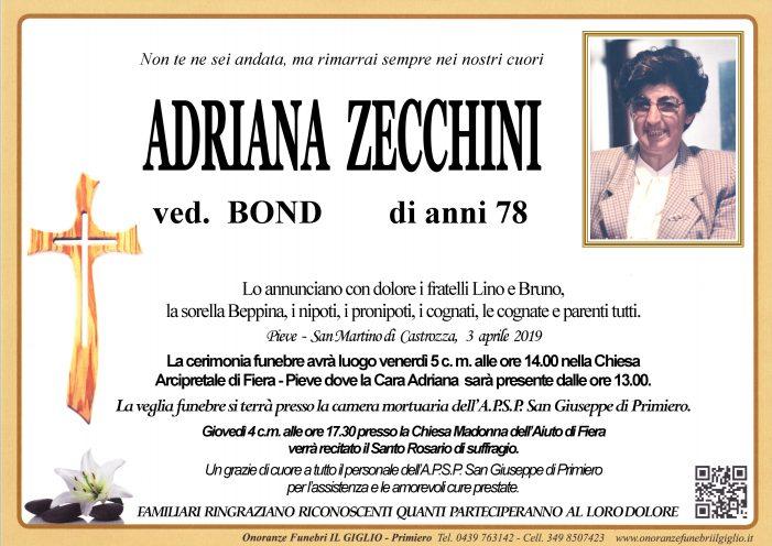 Addio Adriana Zecchini vedova Bond, funerali venerdì 5 aprile alle 14 nella chiesa di Fiera Pieve
