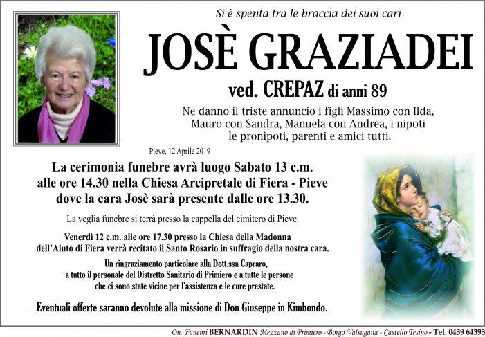 Addio a Josè Graziadei vedova Crepaz, funerali sabato 13 aprile alle 14.30 nella chiesa di Fiera – Pieve