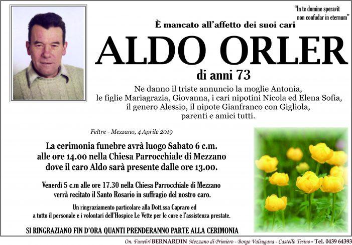 Addio ad Aldo Orler, funerali sabato 6 aprile alle 14 nella chiesa di Mezzano