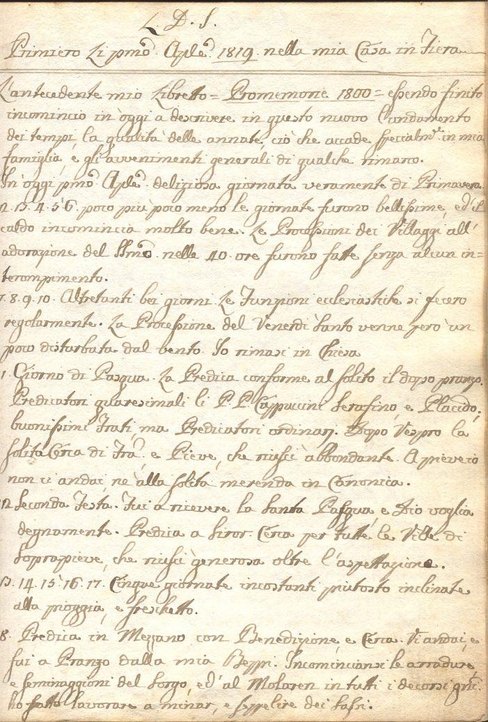 """Il """"Diario di Angelo Michele Negrelli"""": Primiero, lì 20 aprile 1819"""