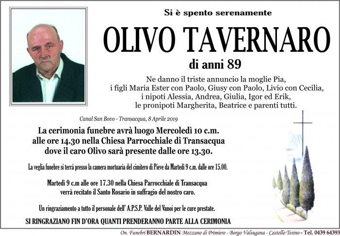 Addio ad Olivo Tavernaro, funerali mercoledì 10 aprile alle 14.30 nella chiesa di Transacqua