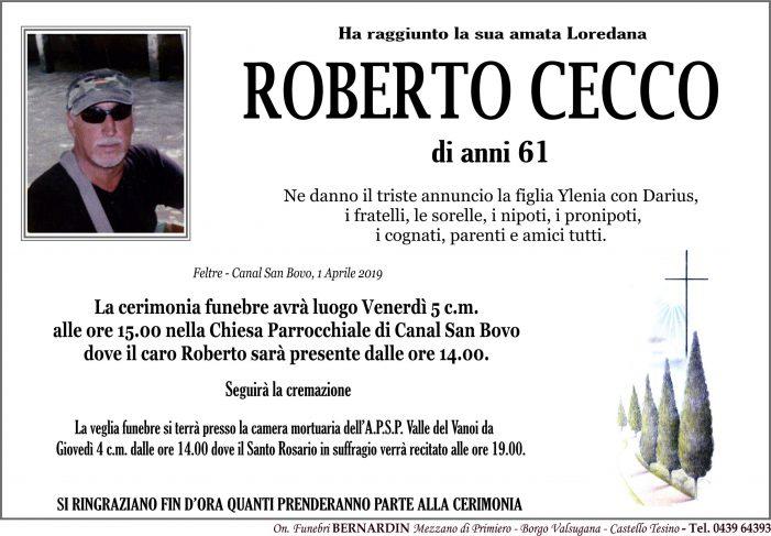 Addio a Roberto Cecco, funerali venerdì 5 aprile alle 15 nella chiesa di Canal San Bovo