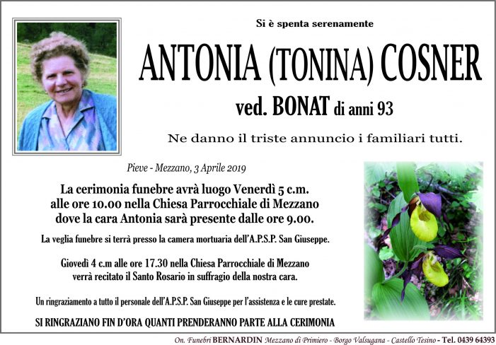 Addio Antonia Cosner, funerali venerdì 5 aprile alle 10 nella chiesa di Mezzano