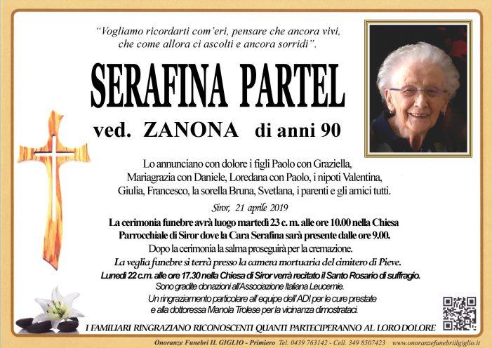 Addio a Serafina Partel vedova Zanona, funerali martedì 23 aprile alle 10 a Siror