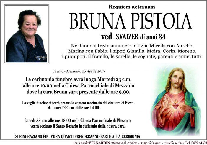 Addio  Bruna Pistoia vedova Svaizer, funerali martedì 23 aprile alle 10 nella chiesa di Mezzano