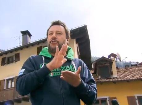 """Verso le Europee, Salvini a Pinzolo difende il sindaco Cereghini, rilancia la Leva e sul Governo: """"Va avanti, ma bisogna essere in due"""""""