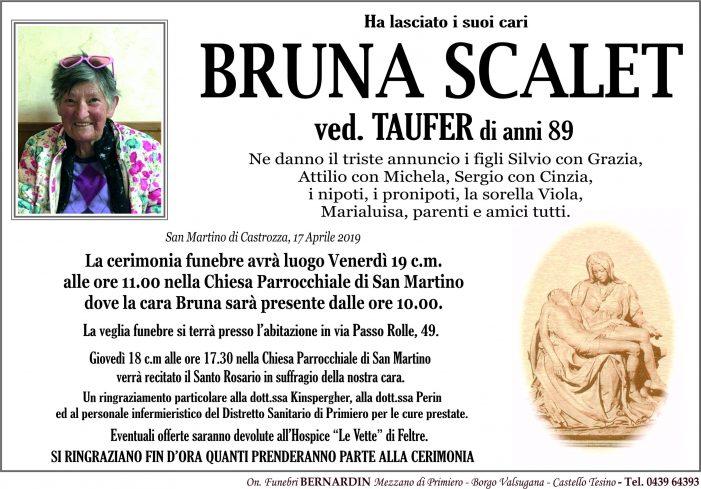 Addio a Bruna Scalet vedova Taufer, funerali venerdì 19 aprile alle 11 nella chiesa di San Martino di Castrozza