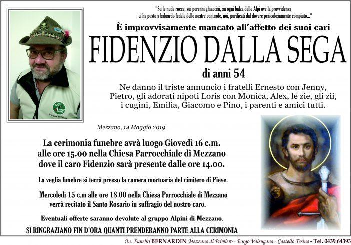 Addio a Fidenzio Dalla Sega, funerali giovedì 16 maggio alle 15 nella chiesa di Mezzano