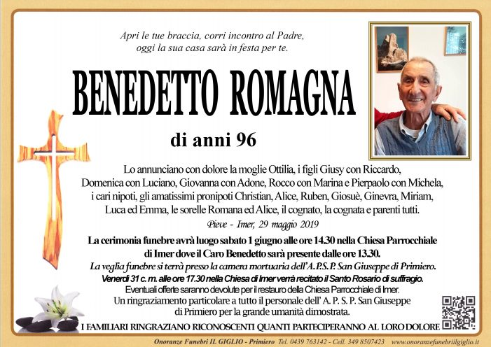 Addio a Benedetto Romagna, funerali sabato 1 giugno alle 14.30 nella chiesa di Imèr