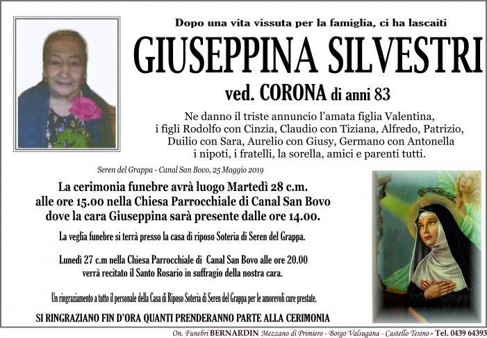 Addio Giuseppina Silvestri vedova Corona, funerali martedì 28 maggio alle 15 nella chiesa di Canal San Bovo