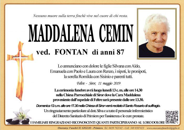 Addio a Maddalena Cemin vedova Fontan, funerali lunedì 13 maggio alle 14.30 a Siror