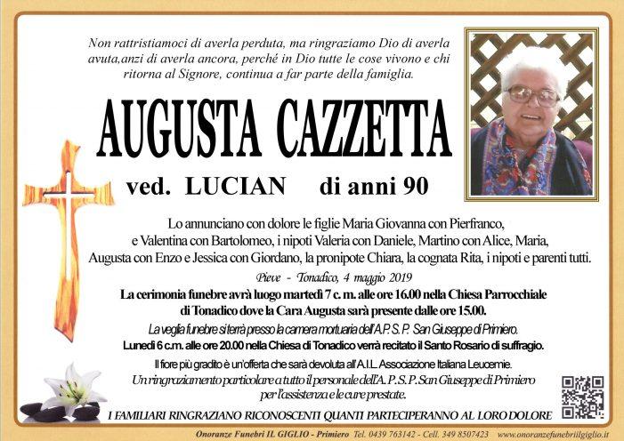 Addio Augusta Cazzetta vedova Lucian, funerali martedì 7 maggio alle 16 nella chiesa di Tonadico