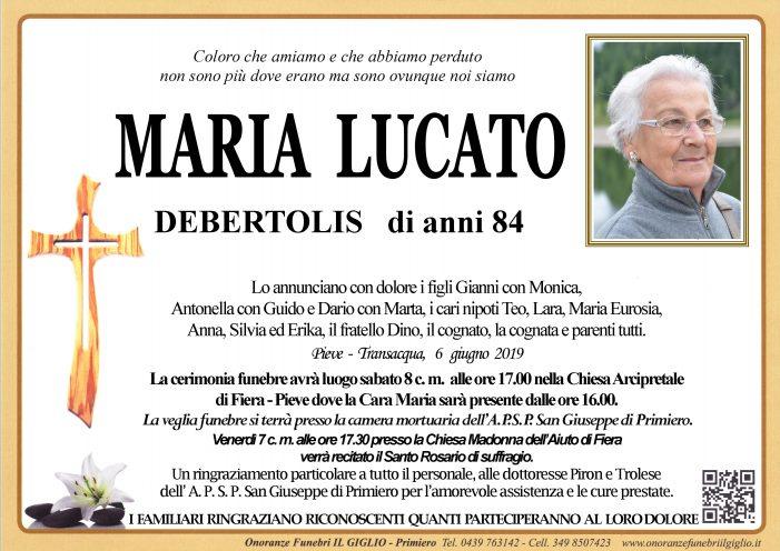 Addio a Maria Lucato Debertolis, funerali sabato 8 giugno alle 17 nella chiesa di Fiera – Pieve