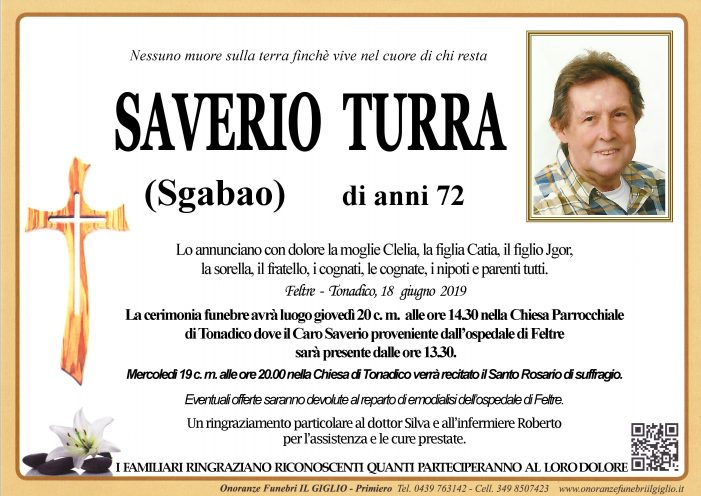 Addio a Saverio Turra, funerali giovedì 20 giugno alle 14.30 a Tonadico