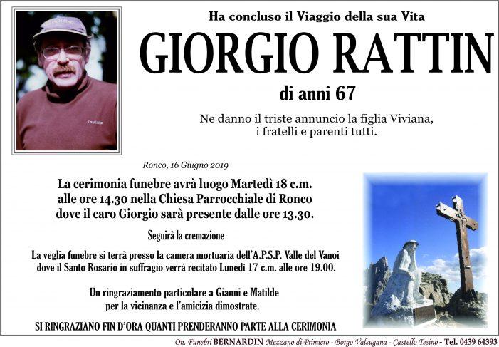 Addio a Giorgio Rattin, funerali martedì 18 giugno alle 14.30 nella chiesa di Ronco