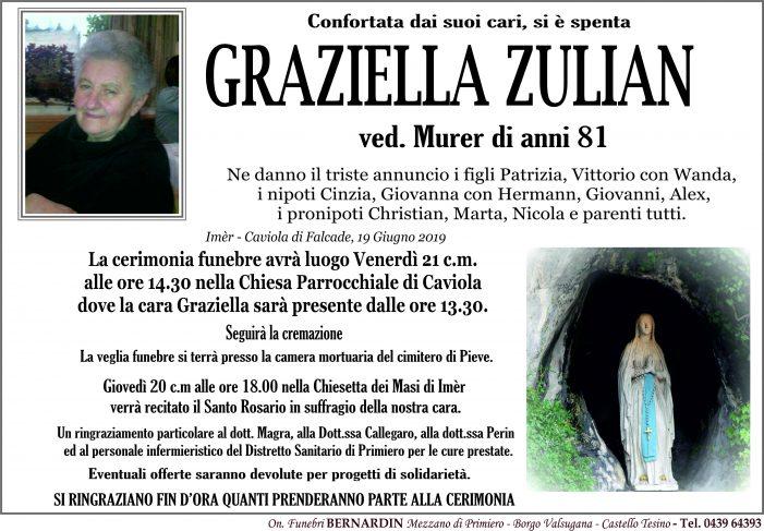 Addio a Graziella Zulian vedova Murer, funerali venerdì 21 giugno alle 14.30 nella chiesa di Caviola