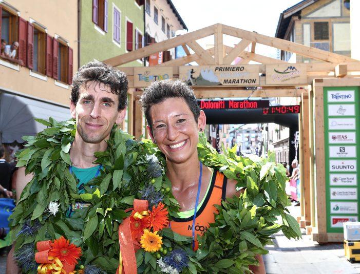 """Primiero Dolomiti Marathon, vittorie di Ruga e Bani che ha corso con la scritta: """"Io sto con Carola"""""""