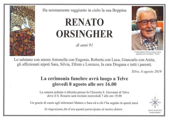 Addio a Renato Orsingher di anni 91, funerali a giovedì 8 agosto alle 16 nella chiesa di Telve
